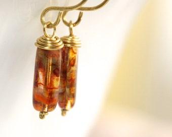 Brown Glass Earrings - 'Ungrateful Lottery Winner'