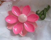 Vintage Enamel 1960s Hot Pink Flower Brooch