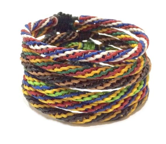Classic Wax Cotton Adjustable Friendship Rasta Buddhist Wristband Handcrafted Wristwear