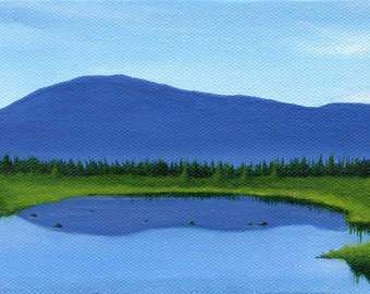 Rum Mountain No. 3, Greenville, Maine - 4 x 6 inch Original Painting by SBMathieu