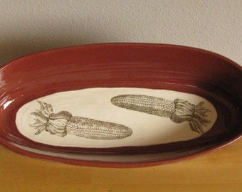large oval platter with vintage corn underglaze decal