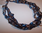 SALE 20% OFF; Ladder Yarn Necklace in Blue and Taupe; Crochet Necklace for Women and Teen Girls; Pretty and Practical Fashion Accessory