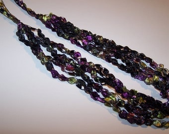 SALE 20% OFF; Ladder Yarn Necklace in Purple Lime Black; Crochet Necklace for Women and Teen Girls; Pretty and Practical Fashion Accessory
