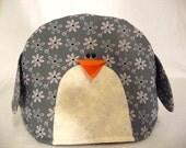 Penguin tea cozy, tea cosy: large grey flowers penguin tea cozy