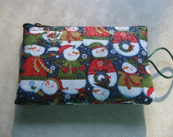 snowman print fabric padded makeup jewelry bag