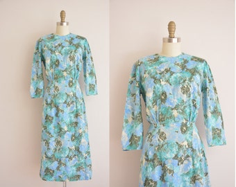 vintage 1950s dress / 50s floral print dress / 1950s cotton dress