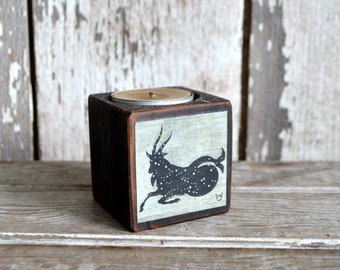 Zodiac Black Candle Holder: No. 14, Capricorn. Candle Holder, Beeswax, Rustic Home Decor, Wood Candle Holder, Candle Holder, Constellation