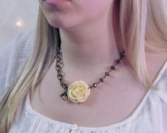 Romantic Bohemian Shabby Chic Cream Rose Womens Necklace with Sparkly Glass Beads and Antique Gold Chain