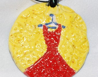 Red Dress Ceramic Pendant -- FREE shipping in the USA