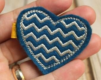 Blue Heart Chevron Hair Clip, Felt Hair Clippie, Machine Embroidered, Snap Clip, Non Slip, Ready to Ship