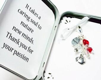 Custom Teacher Thank You Gift. Apple Charm Keychain Gift. Inspire Charm. NKL020