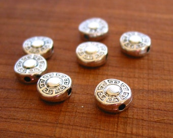 10pcs 9mm antique silver coin flat spacer beads metal findings  LEAD FREE