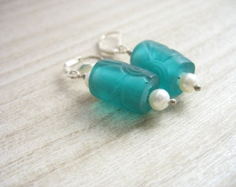 Aqua blue resin pearl earrings , dangle earrings , drop earrings , blue resin earrings , pearl earrings , green resin earrings,resin jewelry