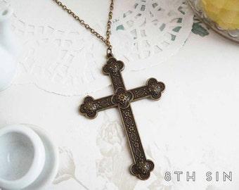 Antique Bronze Cross Necklace, Large Cross Necklace, Church Cross Necklace, Crucifix Necklace, Silver Rosary Necklace, Catholic Cross