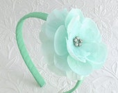 Mint Flower Headband for Toddlers, Young Girls, Bridesmaids, Flower Girls, Rhinestone Mint Hair Flower on Hard, Ribbon Wrapped Headband