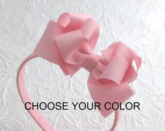 Girls Headband ~ Bow on Hard Plastic Headband ~ Toddlers Girls School Uniform Bow Headband