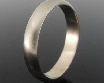 Half Round 14k White Gold Band Ring, White Gold Wedding Band, White Gold Wedding Ring, 4 x 1.5 mm, Satin Finish