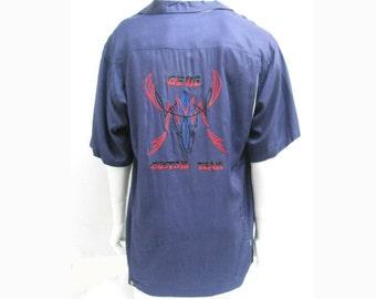 Vintage Panel Bowling Shirt Mens Blue Rayon Gaberdine Gene Custom Team Hotrod Pinstripe Shirt Mns Size Large