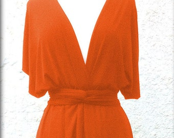 Bridesmaids dress  with chiffon    in color  orange floor length  dress  Convertible/Infinity Dress