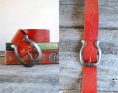 Red Leather Belt  //  Hippie Belt //  CHERRY BOMB