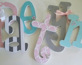 6 Letter Set, Baby Nursery, Hanging Name, Wooden Letters, EIGHT INCH letters, Wall Wood Letter Set, Six Letters in choice of fonts- set of 6