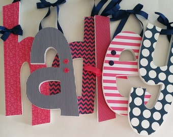 Baby Girl, Wooden Letters, Hanging Wall Decor,  HOT PINK and NAVY Two,  Wood Name Letter, Preppy Nursery,  Custom, any size or font