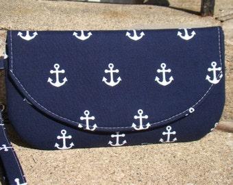 Anchor Clutch, Bridesmaids Wristlets, Custom Made Clutch, Bridesmaids Gifts, Bridesmaids Bags, Personalized Clutch
