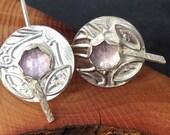 Sterling silver handmade earrings with rose cut amethyst, hallmarked in Edinburgh
