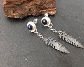 sterling silver handmade fern leaf earrings with 6m sapphires, hallmarked in Edinburgh