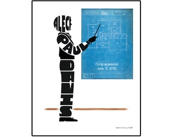 Personalized Male Architect Silhouette Print, Unframed 8x10 Architect Name Art, Gift for Architect