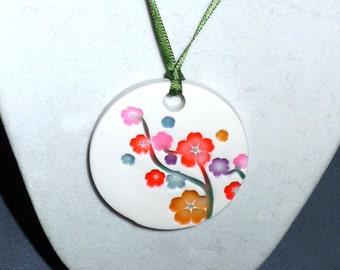 Blossoms Ceramic-style Pendant