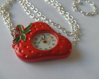 Strawberry, pocket watch, necklace, red and green, Summer fruit, strawberry watch, by NewellsJewels on etsy
