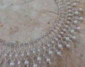 Glass Pearl and Crystal Beaded Wedding Necklace Set / Free Shipping