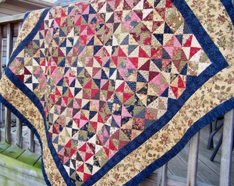 Handmade quilts, hourglass patchwork quilt, traditional quilt, lap quilt
