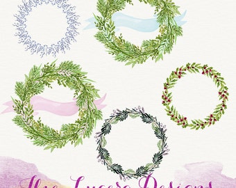 Handpainted watercolor wreaths and bow clip art, overlays, digital embellishments PNG