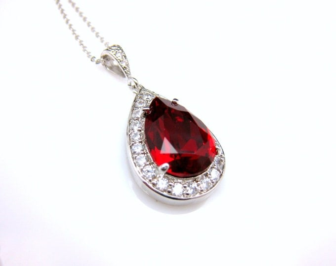 wedding jewelry bridal bridesmaid christmas necklace prom gift pageant sterling silver necklace siam blood red teardrop swarovski pendant