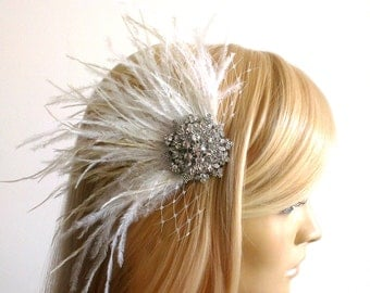 Bridal Fascinator,,bridal Feathers Fascinator, Hair Accessories,bridal head piece