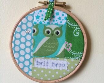Handmade Patchwork Hoop - Green Owl