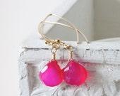 Hot pink chalcedony earrings