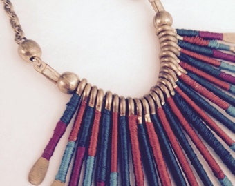 SALE Vintage hand forged copper and thread artisan necklace