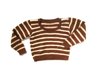 vintage sweater childrens clothing 1980s brown ivory handmade knit size 6 8