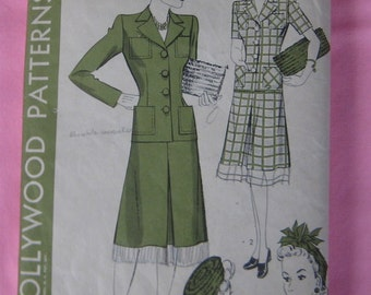Hollywood  Chic 2 Piece Suit Hat N Purse Bag  Pattern 867 Size 16 1942