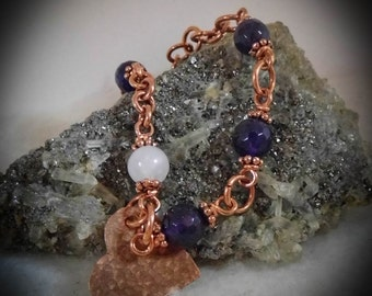 Purple Agate & Rose Quartz Copper Hand Link Bracelet size  7 1/2