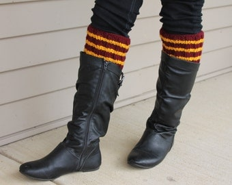 Harry Potter Inspired Hand Knit Boot Cuffs, Boot Toppers. Leg Warmers- Gryffindor
