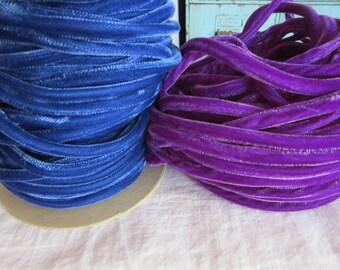 vintage VELVET CORD - BLUE velvet - millinery supplies, rayon velvet - home decor, sewing