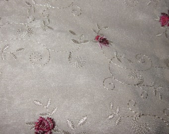 destash polyester embroidered suede 4 yards 60 inches wide