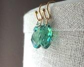 Erinite Briolette Crystal Earrings, Green Glass Earrings, Swarovski Crystal Earrings, Drop Earrings