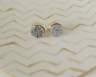 Druzy stud earrings, silver druzy studs,  modern pretty jewelry