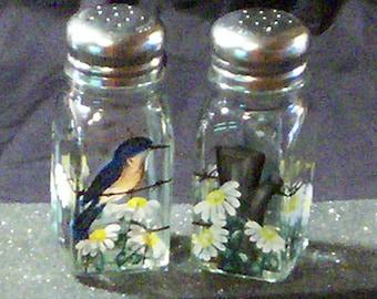 Bluebird Glass Salt and Pepper Shakers Large Size Blue Bird Salt & Pepper Shakers Hand-painted by Lisa Hayward