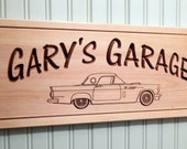 Classic car sign,  Wooden Carved Custom Plaque, 57 Thunderbird, t-bird, garage sign,  Pine carved sign-P57T